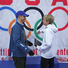 Mary Flaws - Women's Gold Medal Challenge Winner receiving congrats from race director Chris Ponteri.