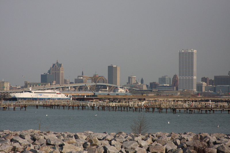 Looking north at downtown Milwaukee.  The Lake Michigan people and car ferry can be seen in the left of the picture as well as the Hoan Bridge and the US Bank building.